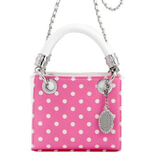 Jacqui Classic Satchel Polka Dot - Pink and White