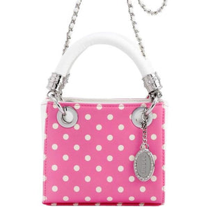 SCORE! Jacqui Classic Designer Stadium Approved Top Handle Satchel Polka Dot Detachable Chain Crossbody Square Game Day Bag Event Team Sorority Purse - Pink and White Phi Mu
