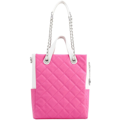 SCORE!'s Kat Travel Tote Multi-function Business Work College Teacher Computer Laptop Shoulder Cross-body Top Handles Quilted Bag - Pink and White Phi Mu