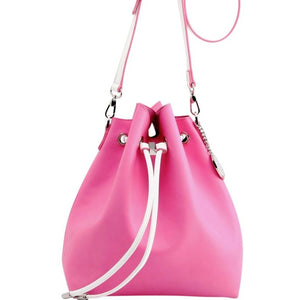 SCORE! Sarah Jean Crossbody Large BoHo Bucket Bag - Pink and White