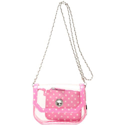 Chrissy Small Clear Game Day Handbag - Aurora Pink and White