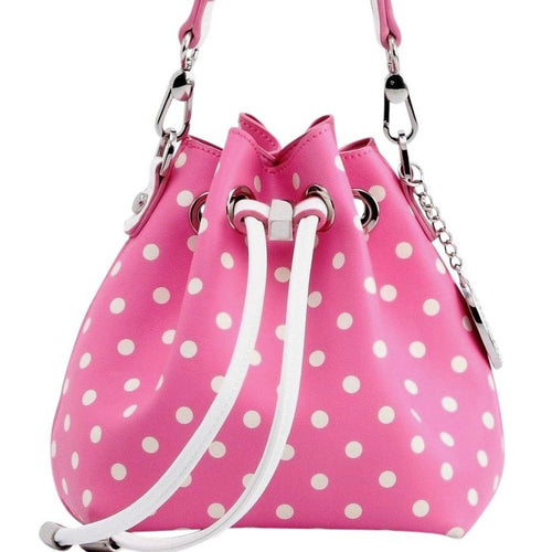 SCORE! Sarah Jean Designer Small Stadium Shoulder Crossbody Purse Polka Dot Boho Bucket Game Day Bag Tote - Pink and White Phi Mu