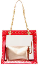SCORE! Andrea Large Clear Designer Tote for School, Work, Travel - Red and Gold