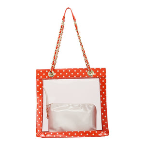 SCORE! Andrea Large Clear Designer Tote for School, Work, Travel - Bright Orange and White