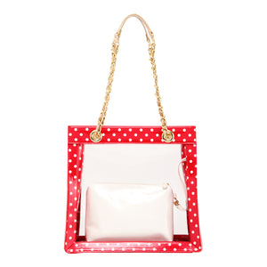 Andrea Clear Tailgate Tote - Racing Red, White and Metallic Gold