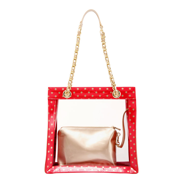 Andrea Clear Tailgate Tote - Racing Red and Metallic Gold