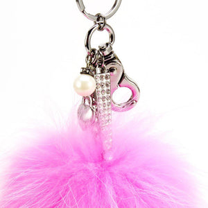 "Real Fur Puff Ball Pom-Pom 6"" Accessory Dangle Purse Charm - Pink with Silver Hardware"