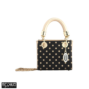 Score! Jacqui Classic Top Handle Crossbody Satchel - Black and Gold Gold