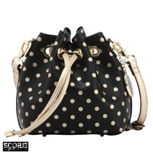 SCORE! Sarah Jean Small Crossbody Polka dot BoHo Bucket Bag - Black and Gold Gold