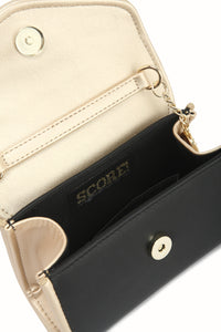 SCORE! Eva Classic Designer Stadium Approved Small Clutch Detachable Chain Crossbody Game Day Bag Event Team Sorority Purse - Black and Gold Gold
