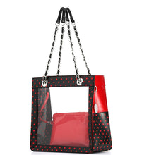 SCORE! Andrea Large Clear Designer Tote for School, Work, Travel - Black and Red