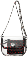 SCORE! Chrissy Small Designer Clear Crossbody Bag - Black and Red