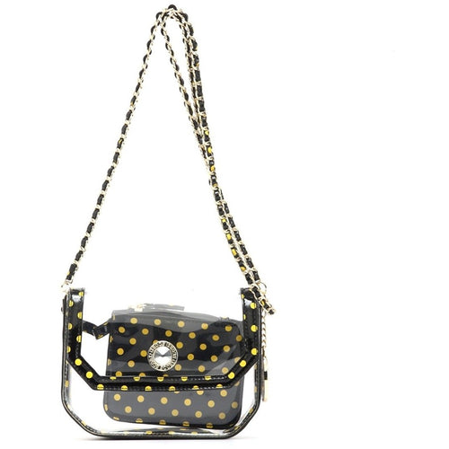 SCORE! Chrissy Small Designer Clear Crossbody Bag- Black & Gold Yellow