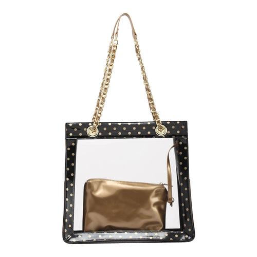 SCORE! Andrea Large Clear Designer Tote for School, Work, Travel- Black and Gold
