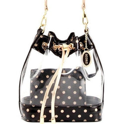 Sarah Jean Clear Bucket Handbag - Black and Gold