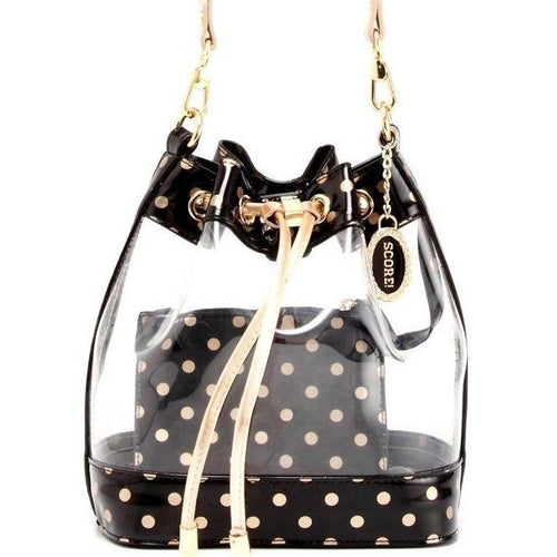 SCORE! Clear Sarah Jean Designer Crossbody Polka Dot Boho Bucket Bag- Royal Blue and Gold Gold