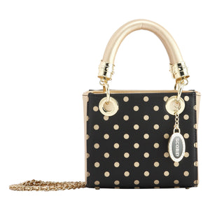 SCORE! Jacqui Classic Designer Stadium Approved Top Handle Satchel Polka Dot Detachable Chain Crossbody Square Game Day Bag Event Team Sorority Purse - Black and Gold Gold