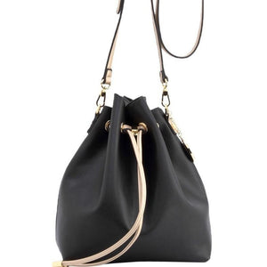 SCORE! Sarah Jean Designer Shoulder Crossbody Purse Solid Extra Large Boho Bucket Game Day Bag Tote - Black and Gold Gold