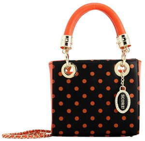 Score! Jacqui Classic Top Handle Crossbody Satchel  - Black and Orange