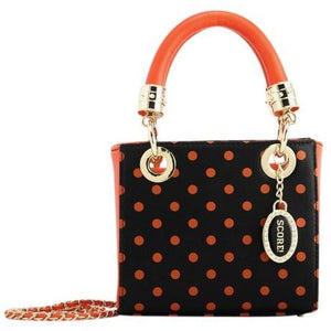 SCORE! Jacqui Classic Designer Stadium Approved Top Handle Satchel Polka Dot Detachable Chain Crossbody Square Game Day Bag Event Team Purse - Black and Orange
