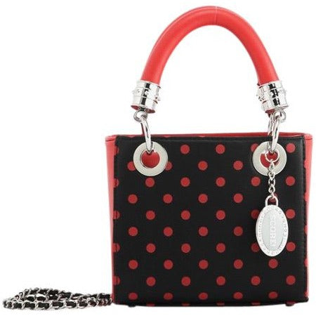 SCORE! Jacqui Classic Designer Stadium Approved Top Handle Satchel Polka Dot Detachable Chain Crossbody Square Game Day Bag Event Team Sorority Purse - Black and Red