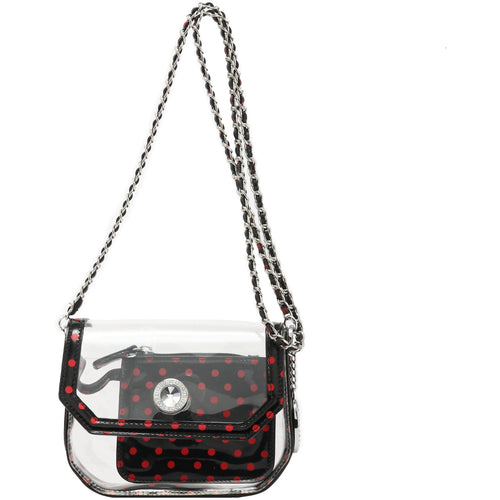 Chrissy Small Clear Crossbody Stadium Compliant Game Day Bag - Black and Red