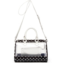 SCORE! Moniqua Large Designer Clear Crossbody Satchel - Black and Silver