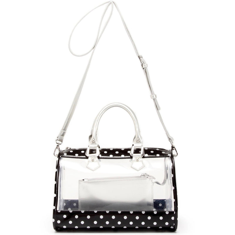 Moniqua Clear Satchel - Black and  Yellow Gold