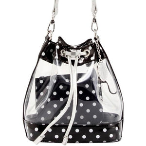 SCORE! Clear Sarah Jean Designer Stadium Shoulder Crossbody Purse Polka Dot Boho Bucket Game Day Bag Tote - Black and Silver
