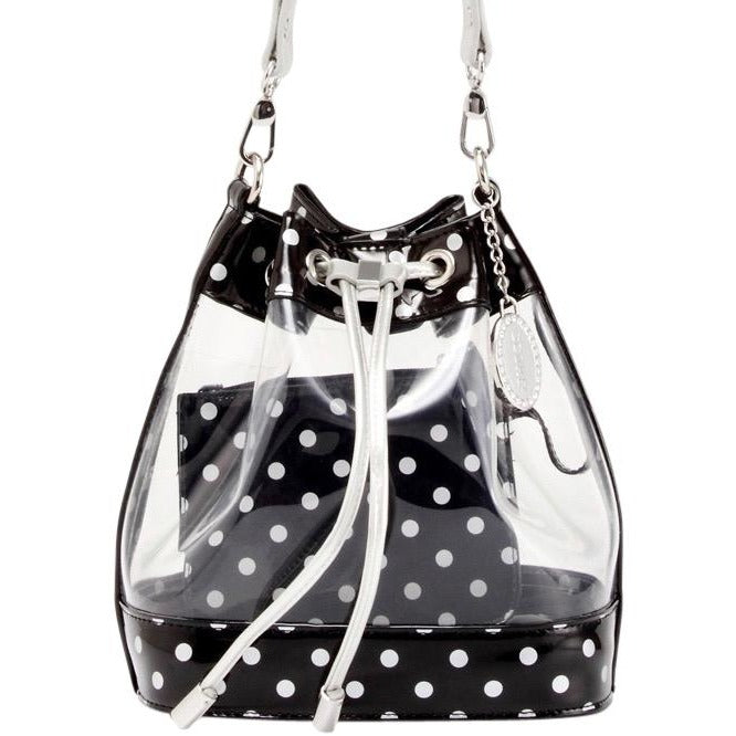Sarah Jean Clear Bucket Handbag - Black and Silver