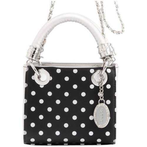 Jacqui Classic Satchel Polka Dot - Black and Silver