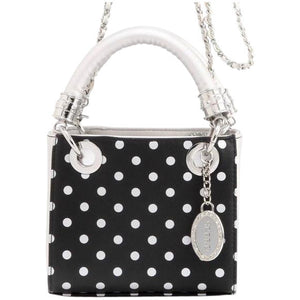 SCORE! Jacqui Classic Designer Stadium Approved Top Handle Satchel Polka Dot Detachable Chain Crossbody Square Game Day Bag Event Team Purse - Black and Silver
