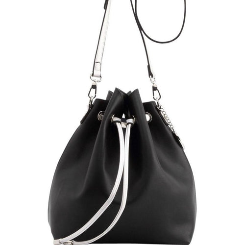SCORE! Sarah Jean Crossbody Large BoHo Bucket Bag - Black and Silver