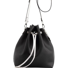 Sarah Jean Solid Bucket Handbag - Black and Silver