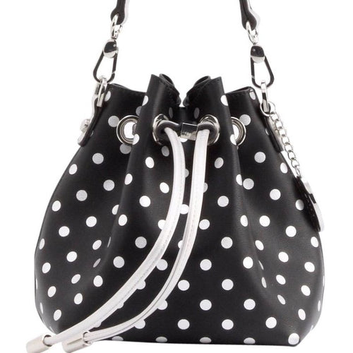 SCORE! Sarah Jean Designer Small Stadium Shoulder Crossbody Purse Polka Dot Boho Bucket Game Day Bag Tote - Black and Silver