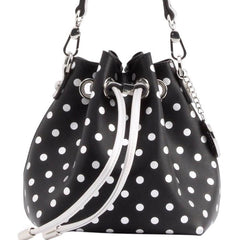 Sarah Jean Polka Dot Bucket Handbag - Black and Silver