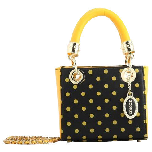 Jacqui Classic Satchel Polka Dot Crossbody Purse - Black and Gold Yellow