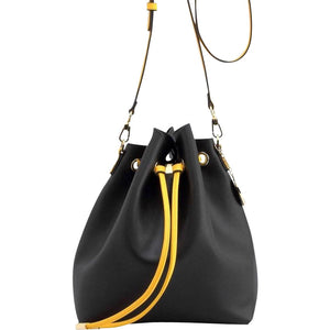 Sarah Jean Solid Bucket Handbag - Black and  Yellow Gold