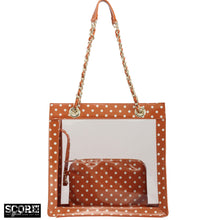SCORE!'s Andrea Clear Tailgate Tote Polka Dot Shoulder Bag with Detachable Zippered Privacy Pouch - Bright Orange and White