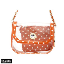 SCORE! Chrissy Small Designer Clear Crossbody Bag - Burnt Orange Sienna and White