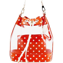 SCORE! Clear Sarah Jean Designer Crossbody Polka Dot Boho Bucket Bag- Burnt Sienna Orange and White