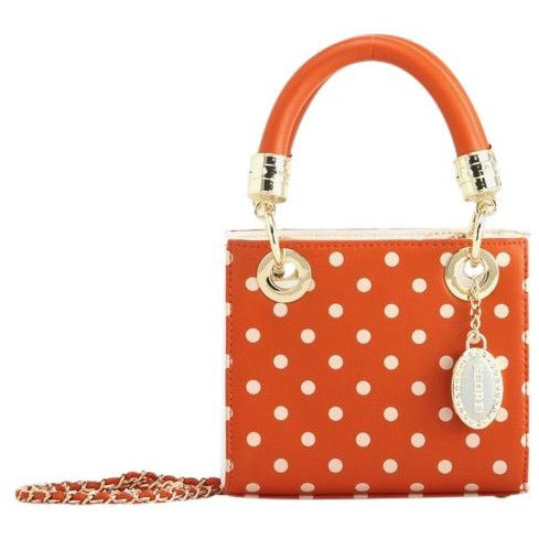 SCORE! Jacqui Classic Designer Stadium Approved Top Handle Satchel Polka Dot Detachable Chain Crossbody Square Game Day Bag Event Team Sorority Purse - UT Austin Broncos Dolphins Burnt Sienna Orange and White