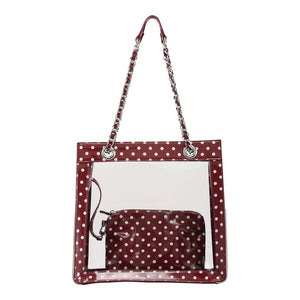 SCORE! Andrea Large Clear Designer Tote for School, Work, Travel - Maroon and White