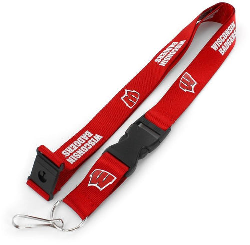 NCAA University of WISCONSIN UWM Badgers Red and White Officially Licensed Logo Team Lanyard