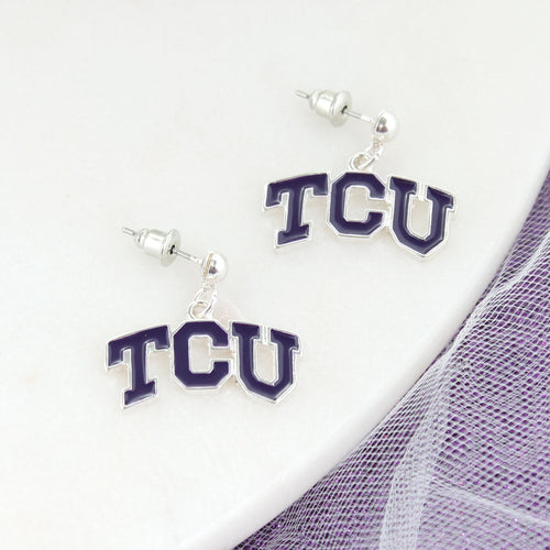 TCU Enamel Logo Earrings