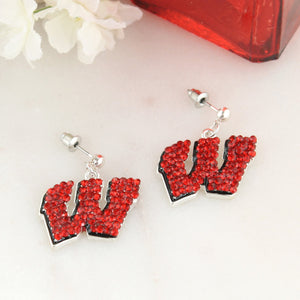 Wisconsin Crystal Logo Earrings