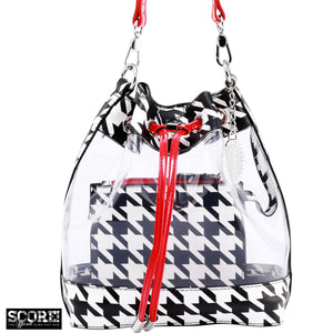 SCORE! Clear Sarah Jean Designer Crossbody Polka Dot Boho Bucket Bag-Houndstooth Black, White and Red
