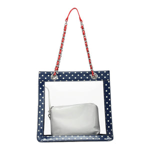 SCORE! Andrea Large Clear Designer Tote for School, Work, Travel - Navy Blue, White and Racing Red