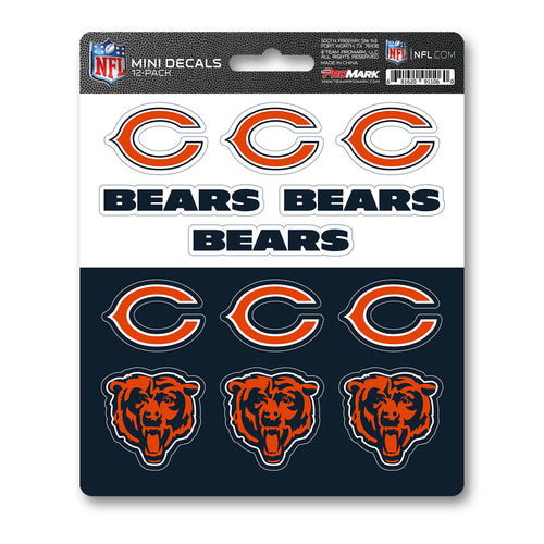 Team ProMark Chicago Bears 12pk Mini Decal Orange and Blue
