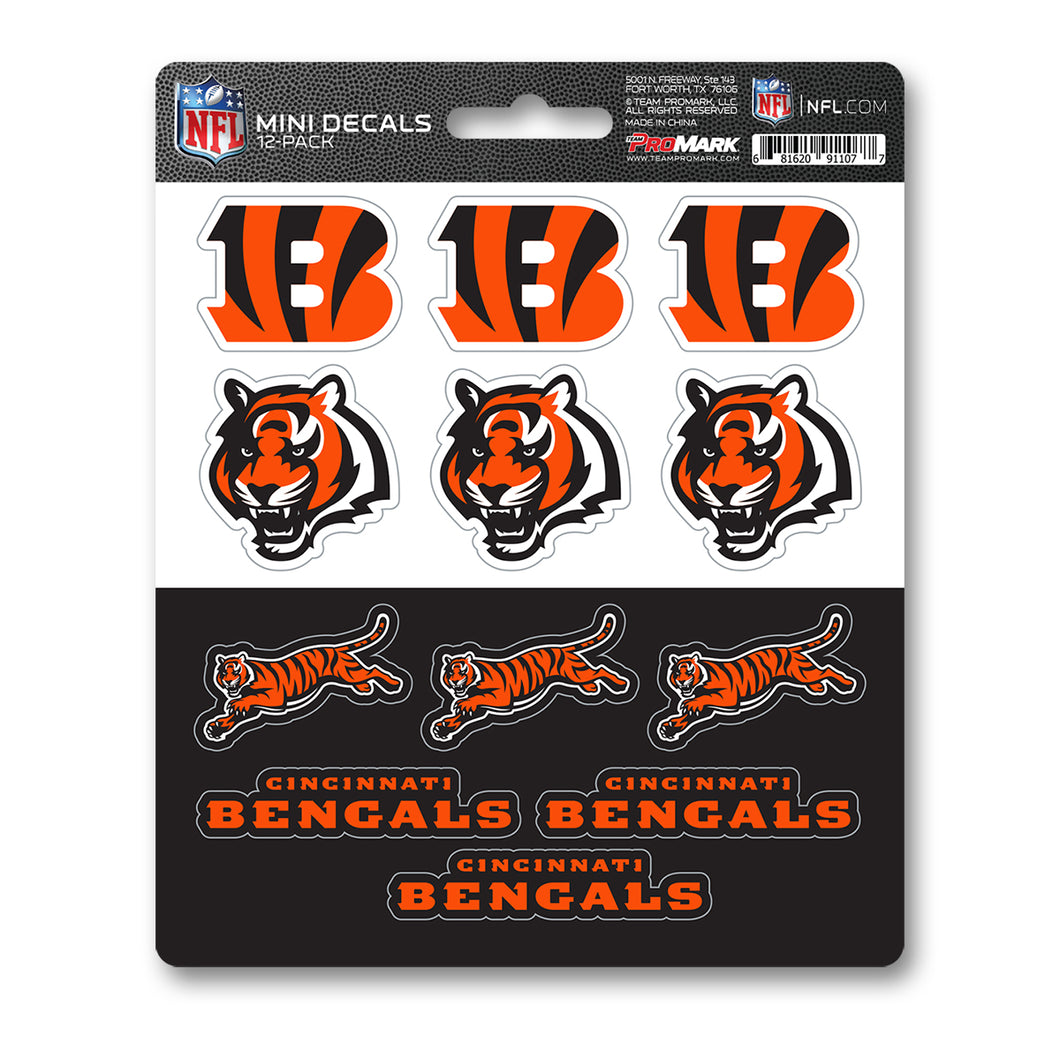 Cincinnati Bengals 12pk Mini Decal Orange and Black NFL Team ProMark Stickers